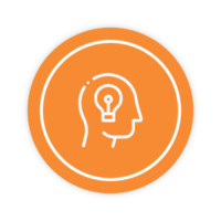 Icon showing a lightbulb in someone's head